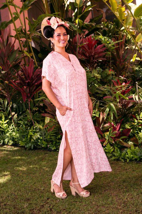 Female model wearing Huakai Tunic in Kapualiko Pattern and Ash Rose-Lotus - Front View