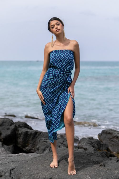 Female model wearing a Pareo in Upena Pattern and Blue Grass/Tilandsia Color - Front View