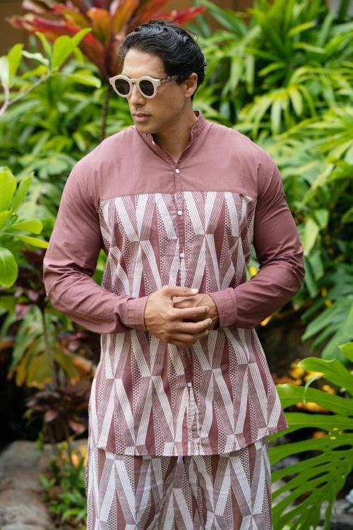 Male model wearing Mandarin Half Tunic in a Kanaloa Pattern and Fired Brick-White - Front View