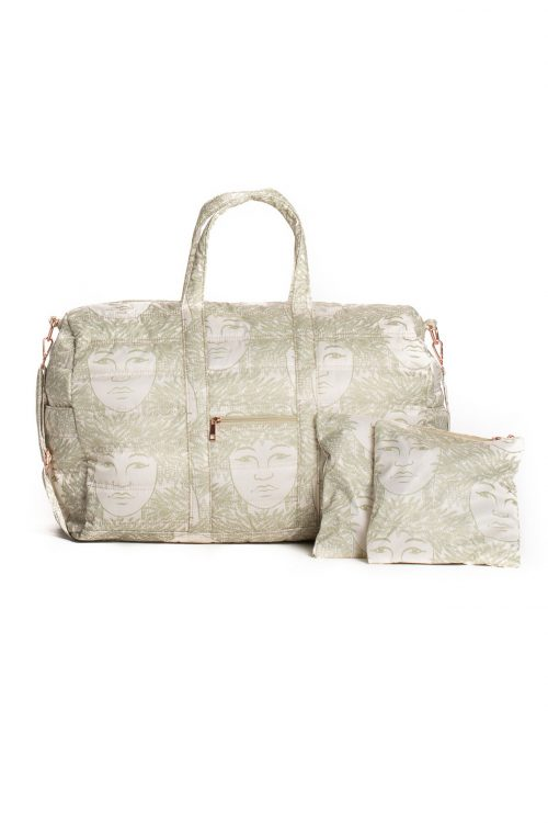 Laulea Bag in a Laukapalili Pattern and Cloud Creme-Sage Green Color