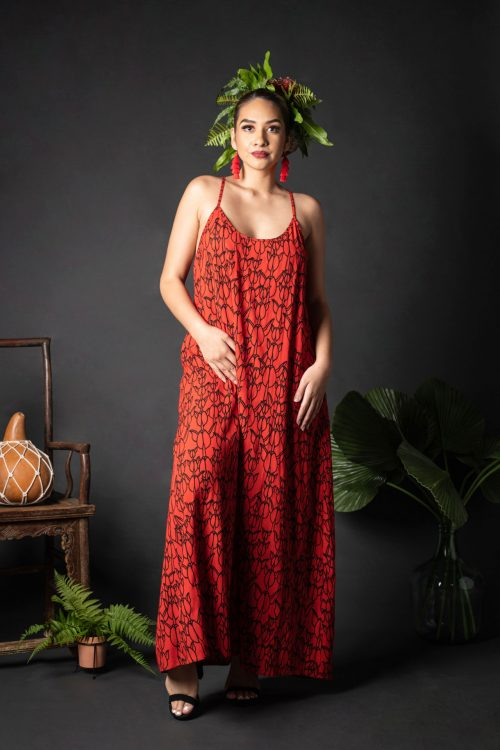 Female model wearing Keahou Dress in a Kapualiko Fiery Red/Black Color - Front View