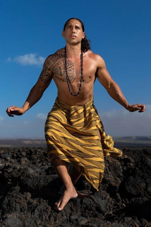 Male model wearing a Pareo in Golden Kialoa - Front View