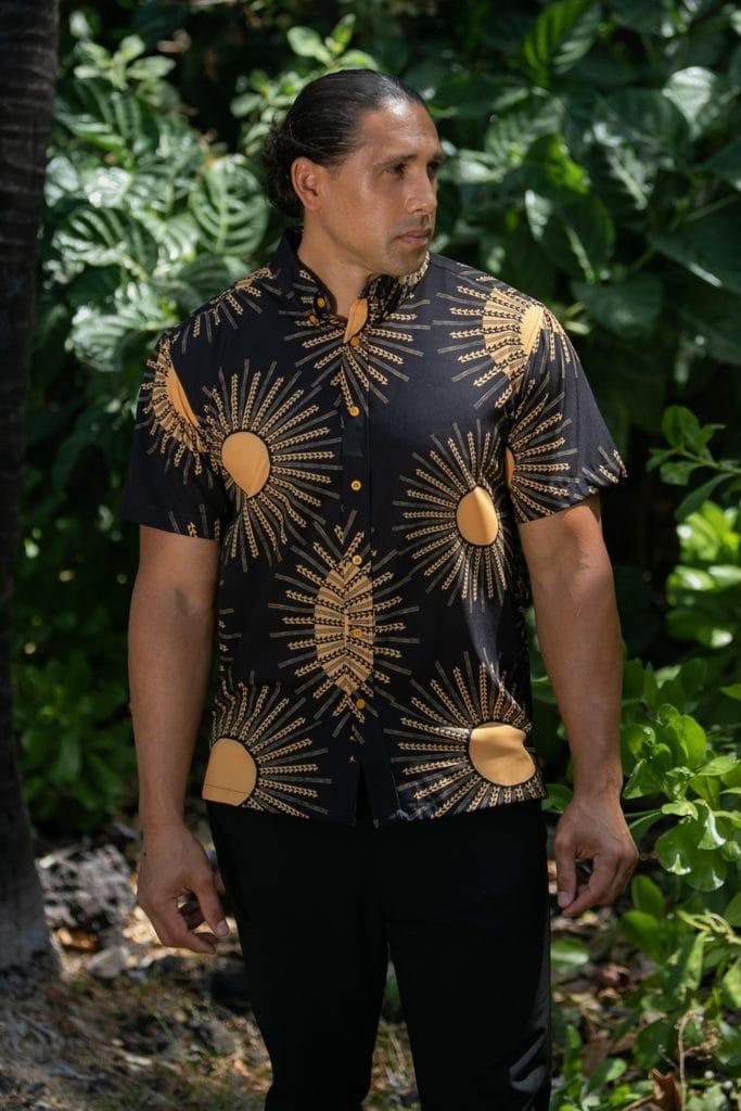 Male model wearing Mahalo Shirt in Kanehoalani Pattern - Front View